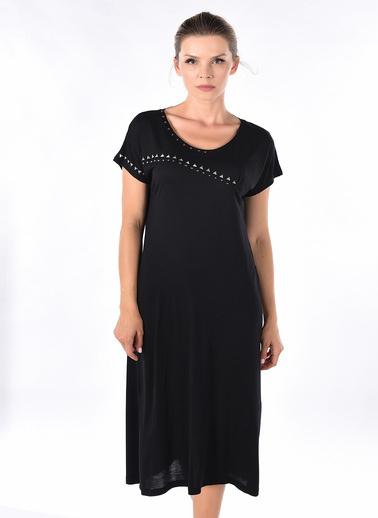Optique Knitwear Taş Baskılı Bisiklet Yaka Uzun Kol Penye Elbise Siyah